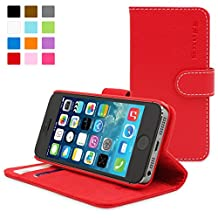 iPhone 5 / 5S Case, SnuggTM - Red Leather Wallet Case and Stand with Card Slots & Soft Premium Nubuck Fibre Interior - Protective Apple iPhone 5 / 5S Flip Cover - Includes Lifetime Guarantee