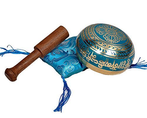 Tibetan Singing Bowl Set By Dharma Store - With Traditional Design Tibetan Buddhist Prayer Flag - Handmade in Nepal (Turquoise) by Dharma Store (Image #3)