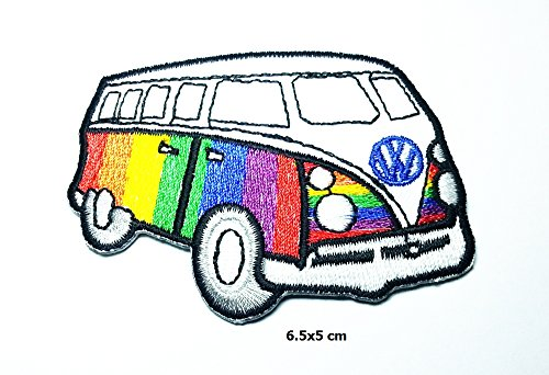 Rainbow Vw Volkswagen Camper Van Bus Car Hot Rod Hippie P...