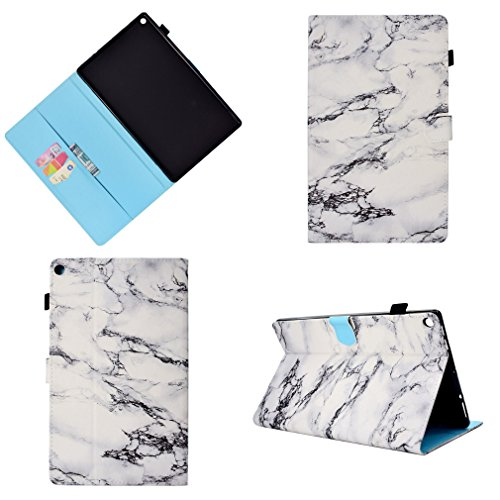 LMFULM® Case for Amazon Fire HD 10 2015/2017 (10,1 Inch) PU Magnetic Leather Cover White Marble Pattern Sleep/Wake…