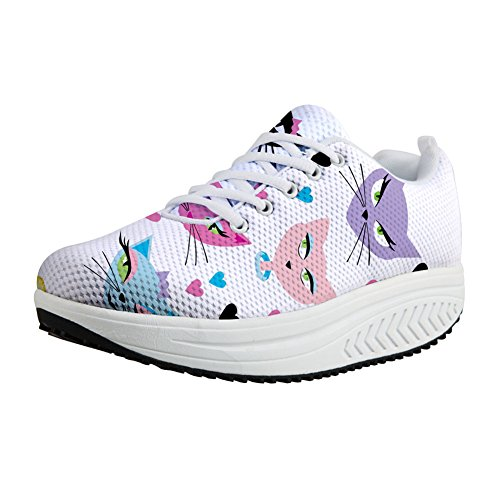 FOR U DESIGNS Cute Animal Cat Print Swing Fitness Walking Sneaker Casual Womens Wedges Platform Shoes Kitten WethcT