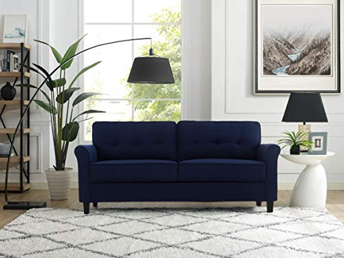 Lifestyle Solutions Haashim Upholstered Fabric Rolled Arms Sofa, Navy