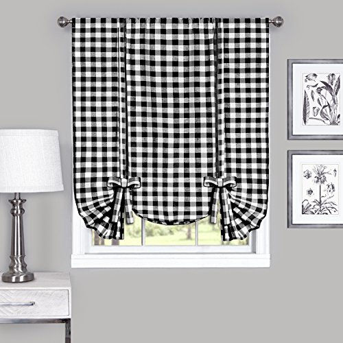 Achim Home Furnishings Buffalo Check Window Curtain Tie Up Shade, 42