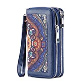 HAWEE Cellphone Wallet Dual Zipper Wristlet Purse with Credit Card Case/Coin Pouch/Smart Phone Pocket Soft Leather for Women or Lady, Blue Floral