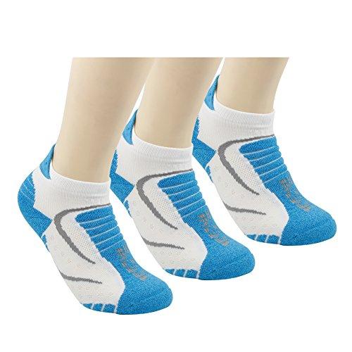 No Show Athletic Running Socks, Facool Anti Blister Women Cycling Golf Padded Sport Training Socks,All Season Moisture Wicking Socks,Sport Athletic Socks 3 Pairs Blue/White Large ()