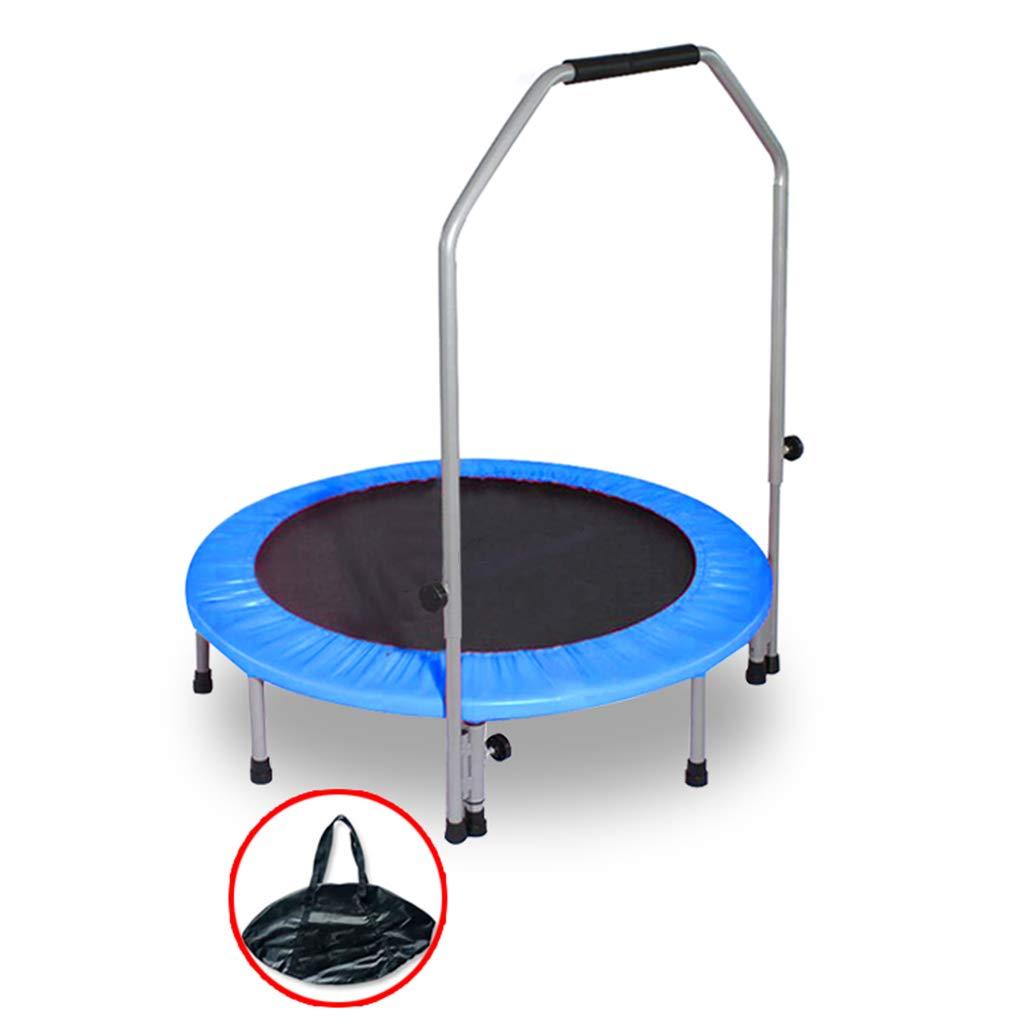 手すり付き折りたたみトランポリン - 屋内/庭/ワークアウトカーディオのための子供のサイレントフィットネス運動の跳躍テーブル、サポート275kg (色 : 青)  青 B07NMHL1JR