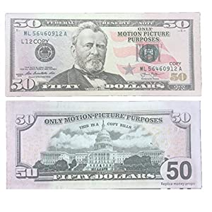 COPY MONEY Total $10, 000 Dollar $50X200 Pcs FAKE MONEY US Currency Props Advertising & Novelty Real Looking New Style Copy Double-Sided Printing - for Movie, TV, Videos