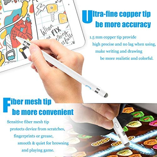 Stylus Pen Compatible for Apple iPad 5 Mins Power Off with High Precision Sensitivity 15mm Fine
