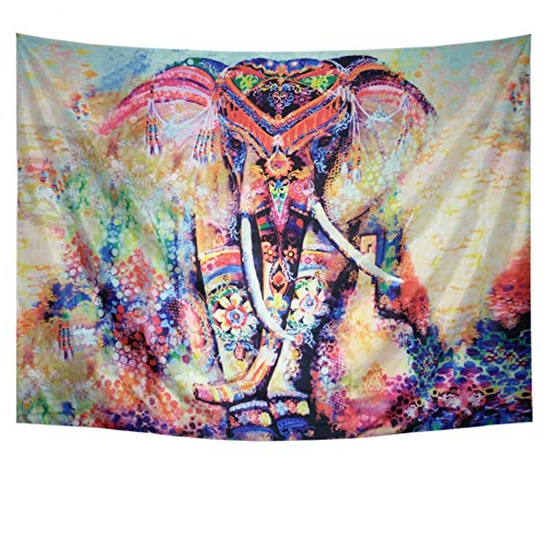 Amhokhui Tapestry Watercolor Elephant Tapestry Flower Psychedelic Wall Tapestry Indian Bohemian Tapestries Colorful Hippie Hippy Elephant Wall Hanging for Bedroom Living Room Dorms by Amhokhui