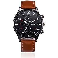 Men Wrist Watch,Napoo Hot Sale Retro Leather Band Analog Alloy Quartz Wrist Watch (Brown)
