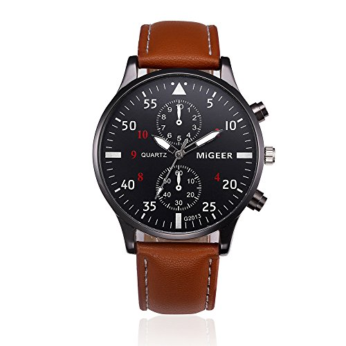 Mens Quartz Watch,Ulanda-EU Unique Retro Analog Business Casual Fashion Wristwatch,Clearance Cheap Watches with Round Dial Case,Comfortable PU Leather Band zm2 (Brown)