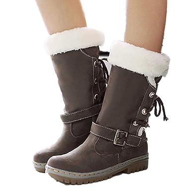 JOYTO Winterstiefel Damen Warm Gefütterte Stiefelette Schneestiefel  Blockabsatz Fell Kniehohe Winter High Boots Langschaft Flach Braun 330525890e