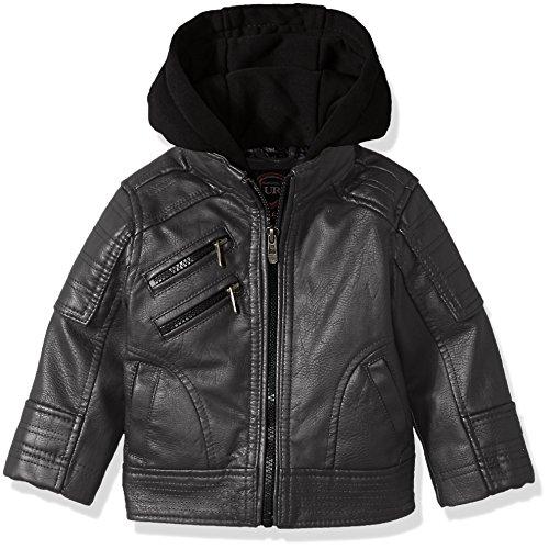 Urban Republic Baby Boys Artsy Faux Leather Moto Jacket, darkcharcoal, 24M (Urban Moto Jacket)