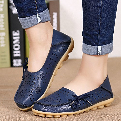 Juleya Womens Moccasins Shoes Faux Leather Loafers Flats Comfort Hollow Slip-On Boat Shoes Fashion Summer Driving Shoes Casual Sandals Walking Pumps 35-44 Dark Blue migAT