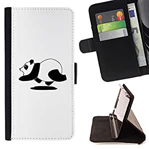 DEVIL CASE - FOR Apple Iphone 4 / 4S - Funny Running Panda - Style PU Leather Case Wallet Flip Stand Flap Closure Cover
