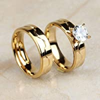 2Pcs Stainless Steel Gold Wedding Engagement Rings Band Set 6MM AAA CZ Size 8-10 (8)