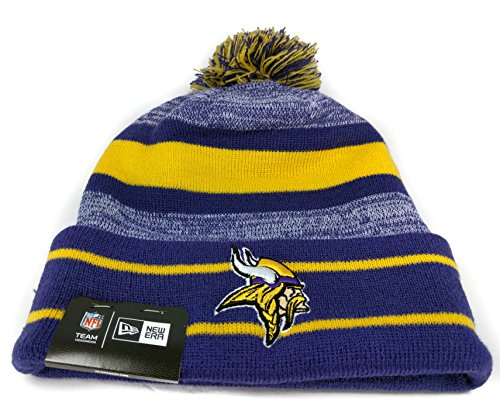 New Era Knit Minnesota Vikings Purple On Field Game Sideline Sport Knit Winter Stocking Beanie Pom Hat Cap 2015 ... (Nfl Stocking Hats Vikings)