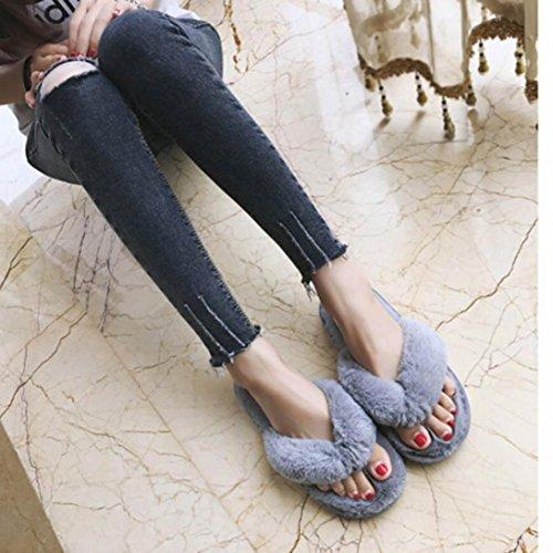 Transer® Kreative Frauen Casual Imitation Pelz Plüsch Warm Hausschuhe Slipper Indoor Home Schuhe Haus Spa Flip Flops Gr. 36-41 Grau