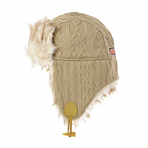 WITHMOONS Ear Flap Cap Bomber Hat Knitted Twisted Cable Beanie Trooper AC7142 (Beige)