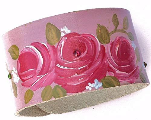 Pink Rose Leather Boho Cuff Bracelet Hand Painted with Swarovski Crystal Rhinestones Adjustable Wristband ()