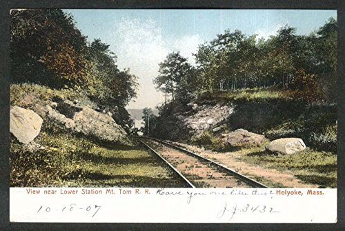 View near Lower Station Mt Tom Railroad Holyoke MA postcard 1907