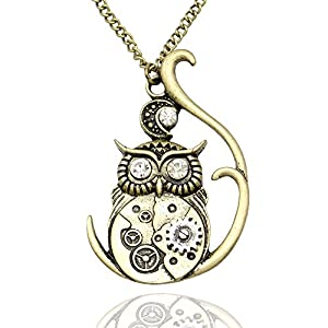 Q&Q Fashion Vintage Ornate 3D Owl Moon Watch Clock Hand Gear Cog Steampunk Chain Fancy Dress Necklace