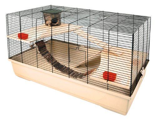 Kerbl 82722 Kleintierkäfig Gabbia Hamster 102, 100 x 53 x 55 cm, beige