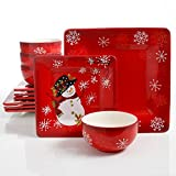 Laurie Gates Snappy Snowman 12 Piece Dinnerware Set, Red (Christmas Theme)