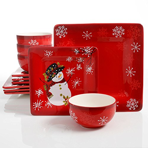 Laurie Gates Snappy Snowman 12 Piece Dinnerware Set, Red (Christmas - Dishes Christmas
