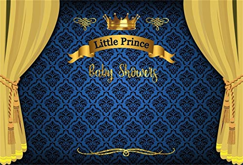 LFEEY 6x4ft Little Prince Baby Shower Backdrop Boy Gender Reveal Party Photography Back Drop Royal Blue Damask Photo Background Cloth Curtain Video Drapes Photo Studio Props -
