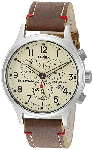 Manual Wind Wrist Watch - Timex Men's TW4B04300 Expedition Scout Chrono Brown/Natural Leather Strap Watch