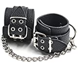 Handcuffs - Leather Handcuffs for Women Men with Chain - Adjustable Wrist Ankle Hand Cuffs Thigh for Couples Handcuffs Set Black - an Interesting Gift Idea