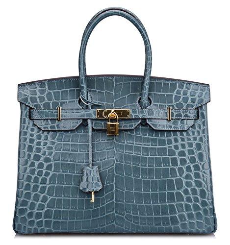 Women's Crocodile Embossed Patent Leather Padlock Handbags Purse (13.8'' (35cm), Light blue)