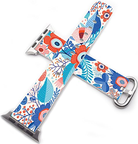 Iwatch Bands 38mm,Apple Watch Band Genuine Prime Elegant Leather Replacement Iwatch 2 Band Series 1 Series 2 2016 - Pretty Beautiful Cartoon Flowers Pattern
