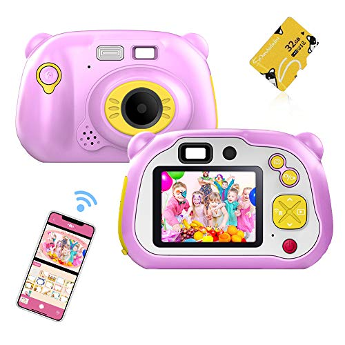 WiFi Kids Camera,CrazyFire 1080P HD Digital Camcorder with Dual Lens Cameras,Rechargeable Toy Camera with Flash& Auto Focus with Toddler Camera for Girls and Boys(32 TF Card Included) (Pink)