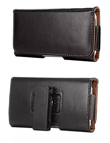 Blackberry DTEK60 Horizontal Black Smooth Leather Case (Oversized to Fit with Cover)Belt Holster Pouch with Heavy Duty 360 Degree Swivel Belt Clip & Magnet Flap (Horizontal Leather Pouch Blackberry)