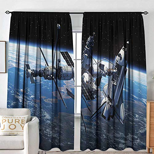 Petpany Family Decor Curtains Outer Space,Space Shuttle and Station View Cosmonaut Adventure on Myst Globe Orbit Off,Blue Grey Black,Blackout Draperies for Bedroom Living Room 120