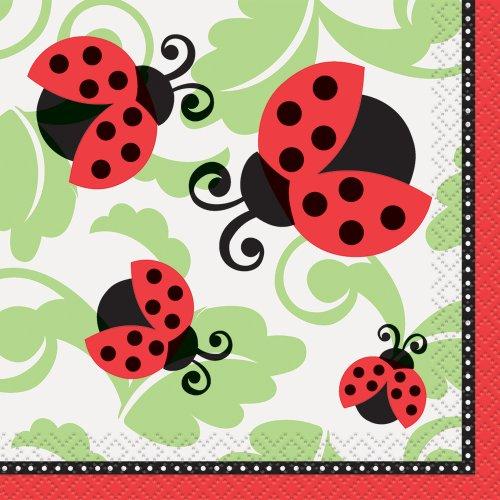 Ladybug Party Beverage Napkins, (16 Count Beverage Napkins)