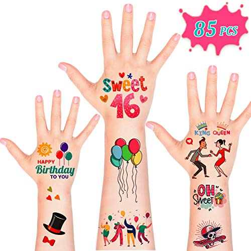 Sweet 16 Party Supplies, 85pcsTemporary Tattoos for 16th Birthday Party Supplies Favors Gift, Sweet Sixteen Party Decorations Accessories for Girls Boys Women Men (Sweet 16 Party Supplies Boy)