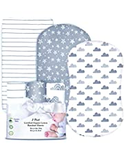 Cambria Baby 3 Pack GOTS Certified Organic Cotton Fitted Bassinet Sheets for Boy or Girl, Modern Bold Gray Designs