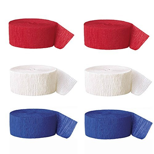 Red White and Blue Party Pack of Streamers Colors of the American Flag 2 Rolls Each Color by Combined Brands