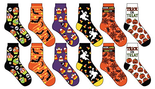 Halloween Socks Women (12 Pair,Happy Halloween Socks, 6 Different Designs, Halloween Gift,Women)