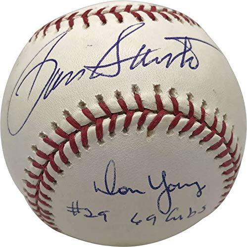 Ron Santo Don Young Autographed Signed 69 Cubs Oml Baseball Beckett Bas - Authentic Memorabilia