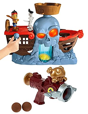Fisher-Price Jake and the Never Land Pirates Ship - Jake's Battle at Shipwreck Falls Bundle with Coconut Launch Crossbow Gift (Buccaneer Battling Jake)