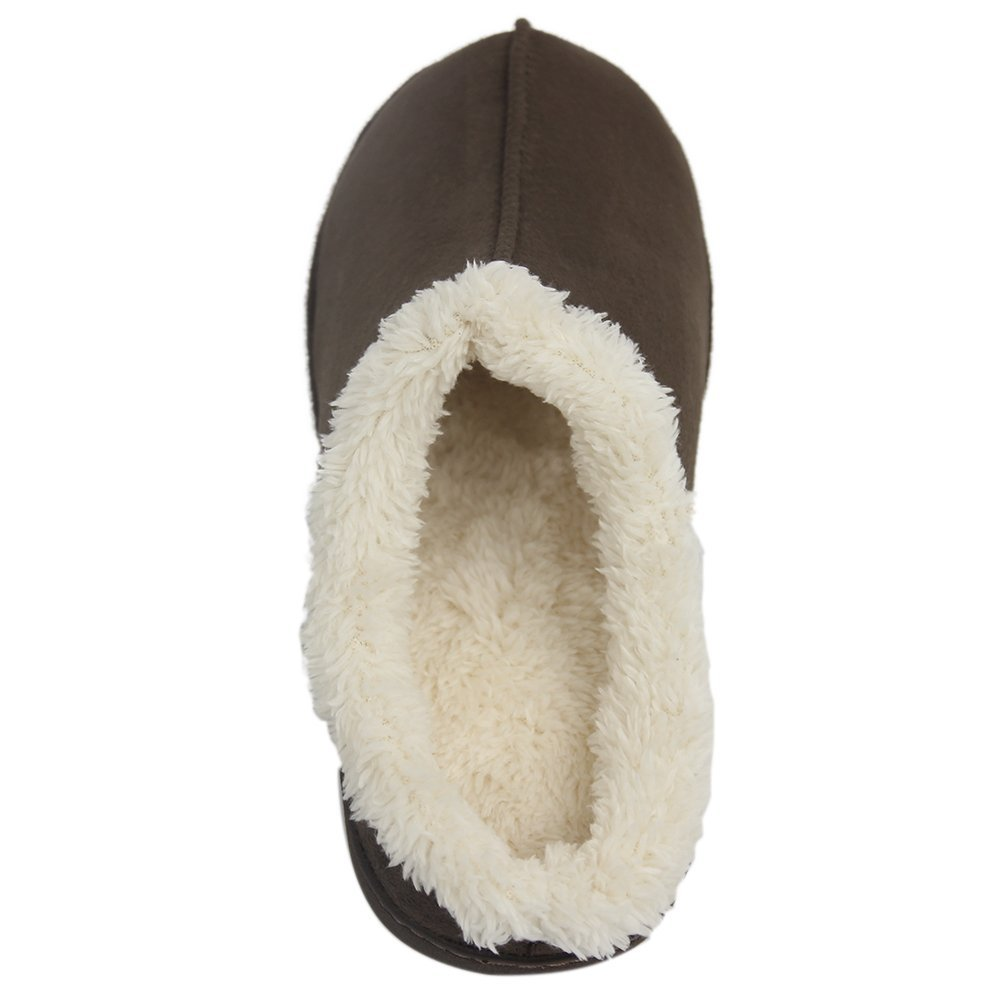 Home Slipper Men's Comfortable Short Plush Lined Soft Sole Closed-Toe House Slippers,US 8/9 Saddle Brown by Home Slipper (Image #3)
