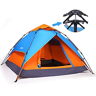 Yodo Versatile Pop Up Instant Family Dome Tent for 3-Season Camping Adventure 3-Way Using with Waterproof Rainfly and 2 Doors, Fiberglass Pole, 2-4 Person (2 Adults, 3-4 Teens or Kids), Orange/ Blue