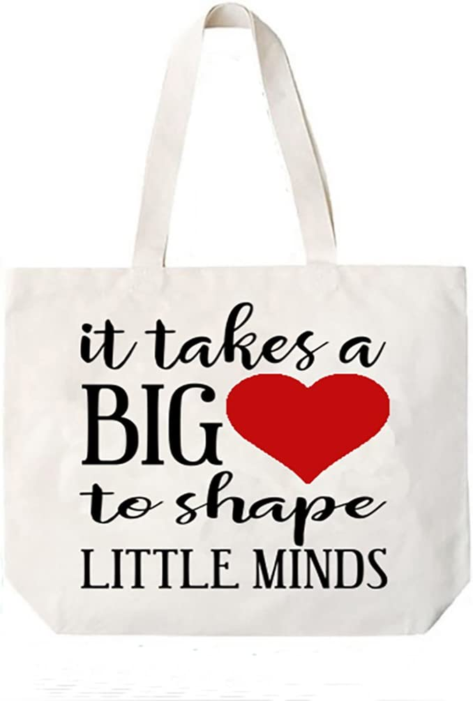 Reusable Bag Gift For Teacher Totes It Takes A Big Heart To Help Shape Little Minds Beach Bag TOTE BAG Shopping Bag Bag For Life