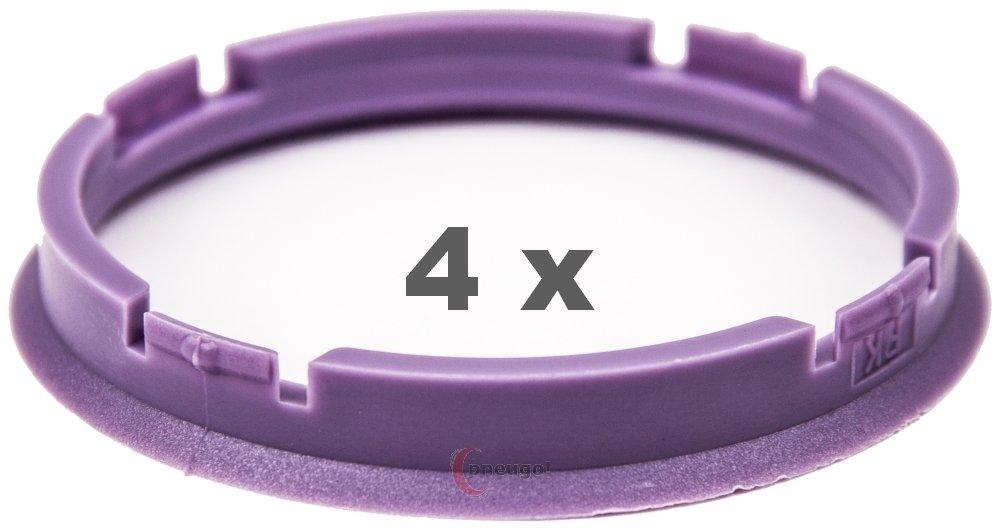 4 anelli di centraggio, da 73 mm a 66,2 mm, di colore viola Pneugo