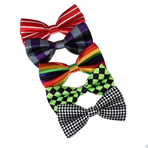 DBF0136 Boyfriend Pre-Tied BowtiesMulti-colored Microfiber 5 Pack Set Bow ties by Dan Smith
