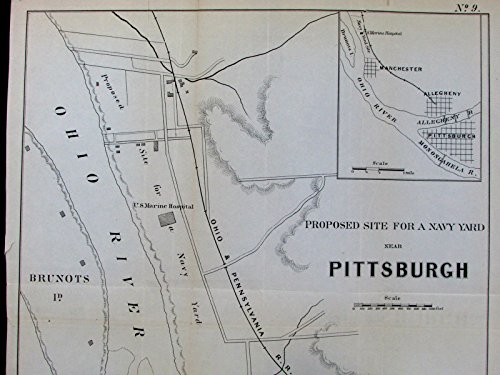 (Proposed Navy Yard near Pittsburgh Pennsylvania PA c.1855 old layout plan map)